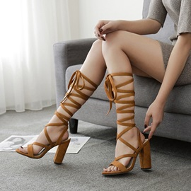 Faux Suede Lace-Up Chunky Heel Women's Sandals