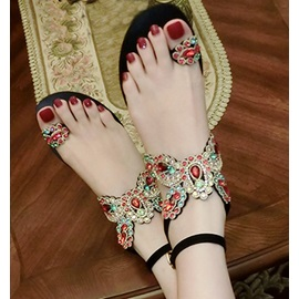 Rhinestone Toe Ring Block Heel Women's Flat Sandals