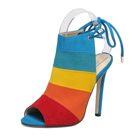 Color Block Peep Toe Stiletto Heel Women's Sandals