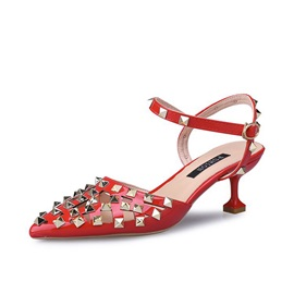 PU Rivet Pointed Toe Strappy Women's Sandals