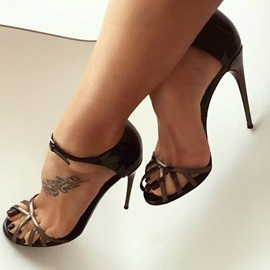 PU Peep Toe Stiletto Heel Women's Sandals