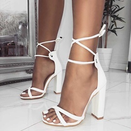 PU Lace-Up Strappy Chunky Heel Women's Sandals