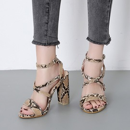 Buckle Chunky Heel Strappy Serpentine Women's Sandals