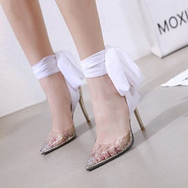 Stiletto Heel Ankle Strap Pointed Toe Rhinestone Sandals