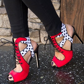 Polka Dot Lace-Up Stiletto Heel Peep Toe Women's Sandals