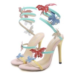 Rhinestone Ankle Strap Stiletto Heel Women's Sandals