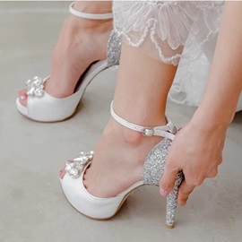 Peep Toe Rhinestone Stiletto Heel Wedding Shoes
