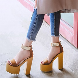 Sequin Zipper Ankle Strap Chunky Heel Women's Sandals