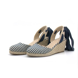 Cloth Round Toe Wedge Heel Cross Strap Women's Sandals