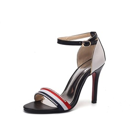 Rhinestone Color Block Heel Covering Stiletto Heel Women's Sandals