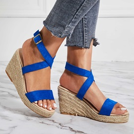 Faux Suede Strappy Platform Wedge Heel Women's Sandals