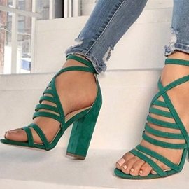 Faux Suede Round Toe Buckle Chunky Heel Women's Sandals