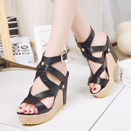 PU Buckle Open Toe Wedge Heel Women's Sandals