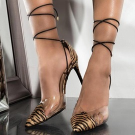 Stiletto Heel Pointed Toe Lace-Up Women's Sandals