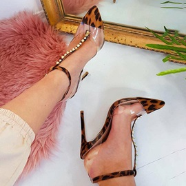 Leopard Print Stiletto Heel Buckle Pointed Toe Women's Sandals