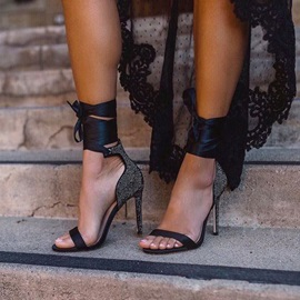 Open Toe Lace-Up Stiletto Heel Vintage Sandals