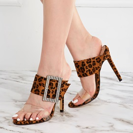 Leopard Print Stiletto Heel Slip-On Slippers