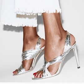Metallic Slip-On Peep Toe Slingback Strap Women's Sandals