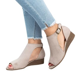 Wedge Heel Peep Toe Buckle Plain Women's Sandals