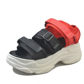 Velcro Open Toe Platform Color Block Women's Ugly Sandals