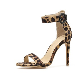 Leopard Print Buckle Open Toe Heel Covering Sandals