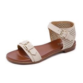 Open Toe Heel Covering Buckle Women's Flat Sandals