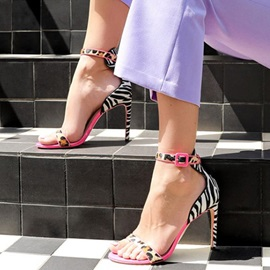 Patchwork Heel Covering Stiletto Heel Open Toe Sandals
