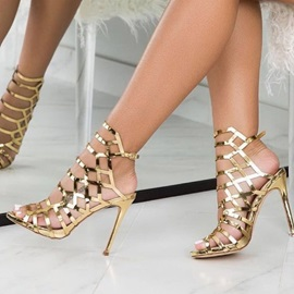 Peep Toe Strappy Stiletto Heel Prom Sandals