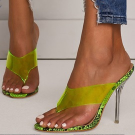 Neon See-Through Stiletto Heel Summer Women's Slippers