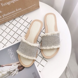 Rhinestone Block Heel Thread Women's Slippers