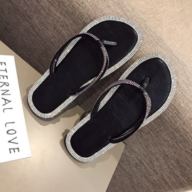 Flat With Rhinestone Women's Slippers