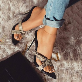 Cross Slip-On Stiletto Heel Animal Print Sandals