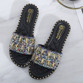 Sequin Slip On Flat Sandals for Women