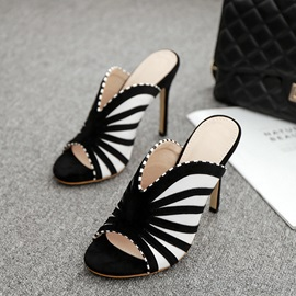Stiletto Heel Patchwork Slip On Women's Sandals