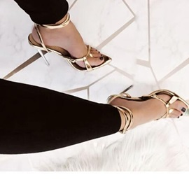 Metallic Stiletto Heel Buckle Open Toe Women's Sandals