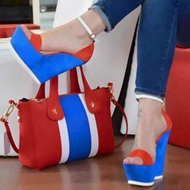 Buckle Wedge Heel Open Toe Color Block Women's Sandals