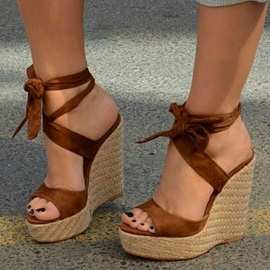 Customized Lace-Up Open Toe Ankle Strap Plain Sandals