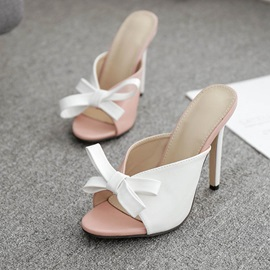 Bow Stiletto Heel Slip-On Women's Slippers