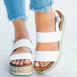 Flat Heel Open Toe Buckle Vintage Women's Sandals