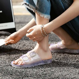 Hollow Wedge Heel PVC Women's Slippers