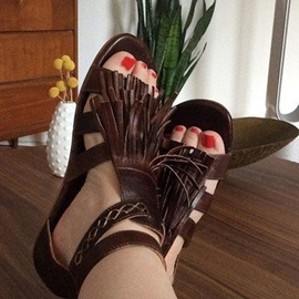 Heel Covering Open Toe Zipper Fringe Women's Sandals