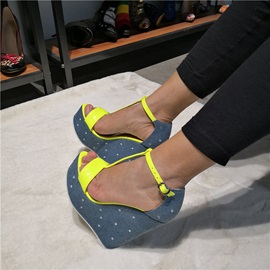 Customized Neon Open Toe Buckle Wedge Sandals