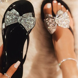 Flat Heel Rhinestone Slip-On PVC Jelly Sandals
