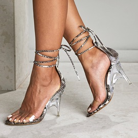 Stiletto Heel Heel Covering Open Toe Serpentine Sandals