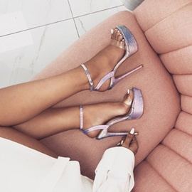 Buckle Ankle Strap Open Toe Platform Metallic Sandals