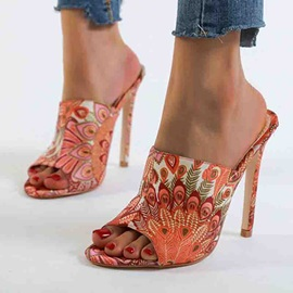 Slip-On Stiletto Heel Floral Vintage Sandals