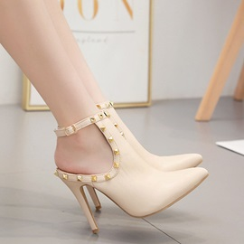 Buckle Stiletto Heel Pointed Toe Plain Sandals