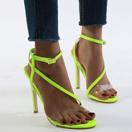 Line-Style Buckle Stiletto Heel Ankle Strap Casual Sandals