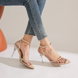 Pointed Toe Line-Style Buckle Simple Pumps