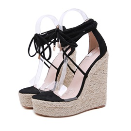 Open Toe Heel Covering Lace-Up Banquet Sandals